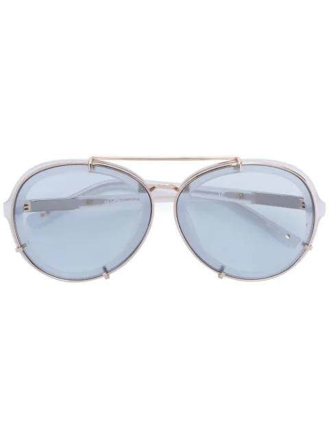 Linda Farrow Oversized-Sonnenbrille Mit Runden GläSern - Weiß