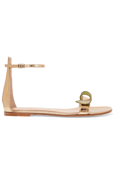 Gianvito Rossi Woman Crystal-Embellished Metallic Leather Sandals Gold