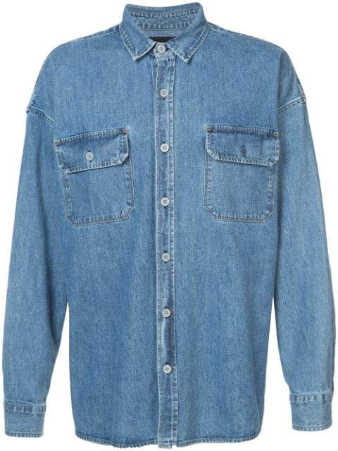 Fear Of God Fifth Collection Oversized Denim Shirt In Blue