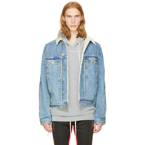 Fear Of God Corduroy-Trimmed Faux Shearling-Lined Denim Jacket In Vintage Indigo