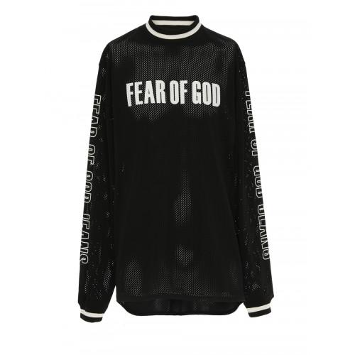 Fear Of God Long-Sleeved Logo-Print Mesh-Jersey T-Shirt In Black