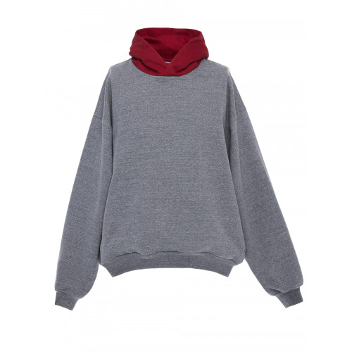 Fear Of God Everyday Oversized Two-Tone Cotton-Blend Jersey Hoodie In Gray