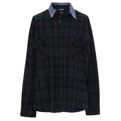 Fear Of God Oversized Denim-Trimmed Checked Wool And Cotton-Blend Shirt In Green