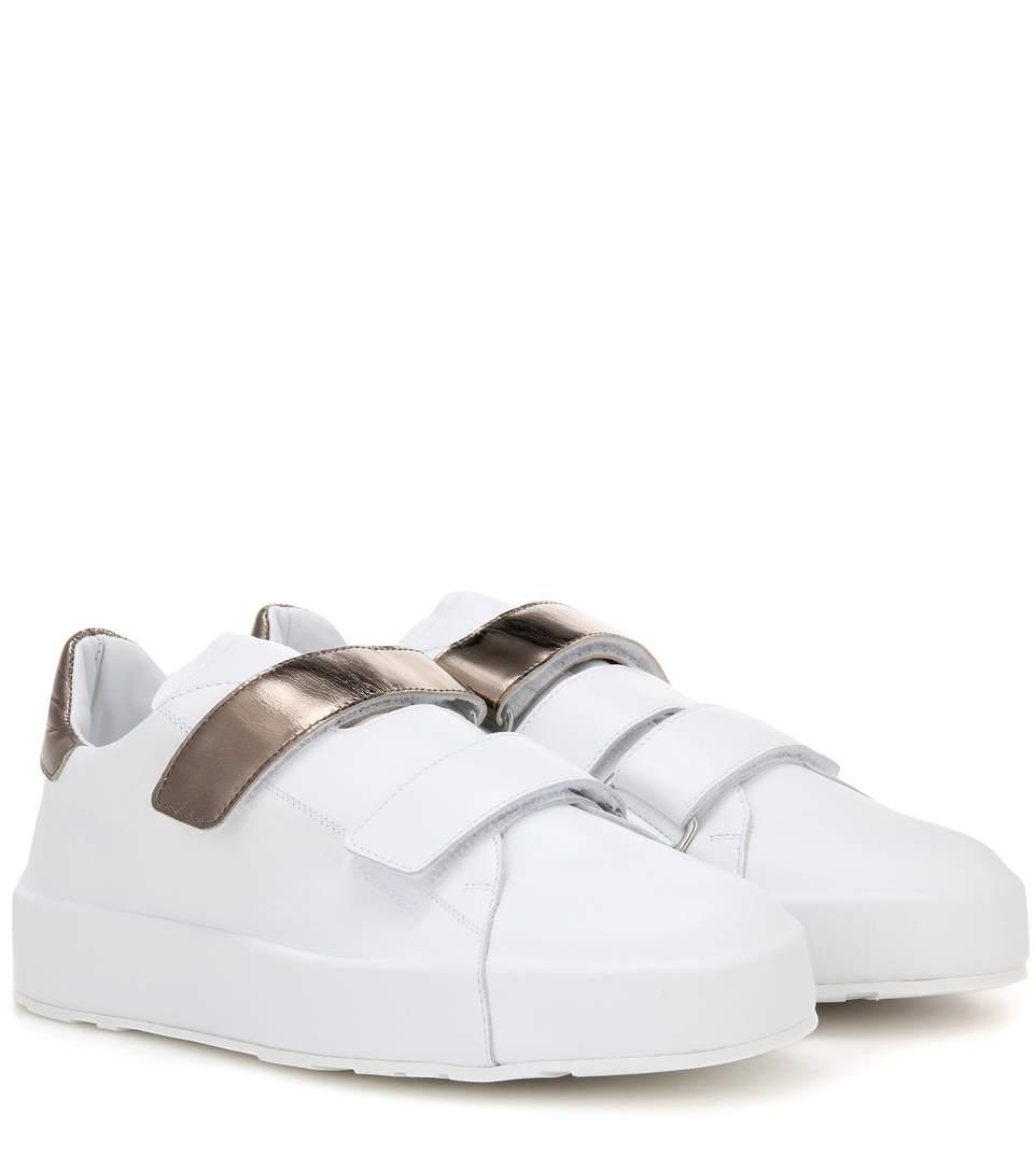 Jil Sander Leather Sneakers In Liaeco