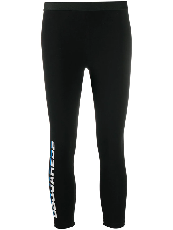 Dsquared2 Logo Printed Jersey Leggings In Black