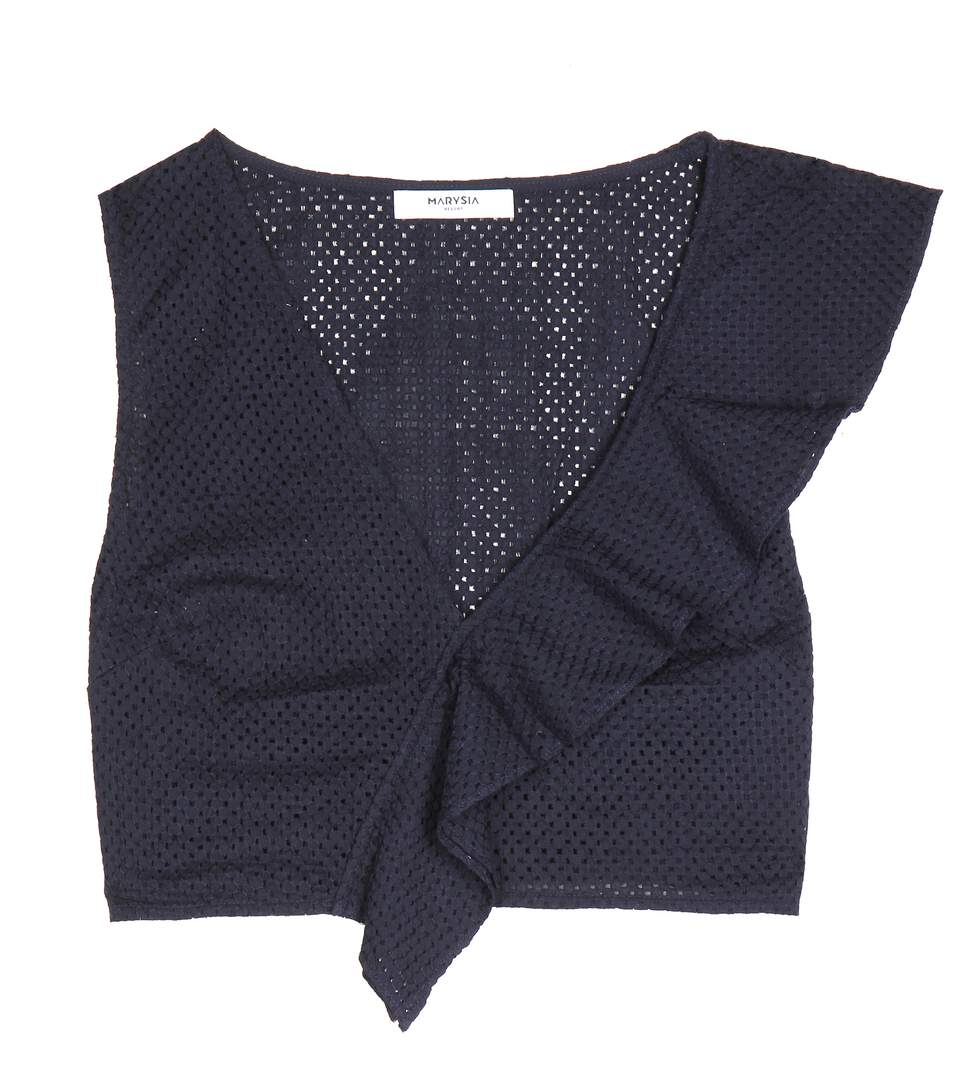 Marysia Seahaven Cotton Crop Top In Blue