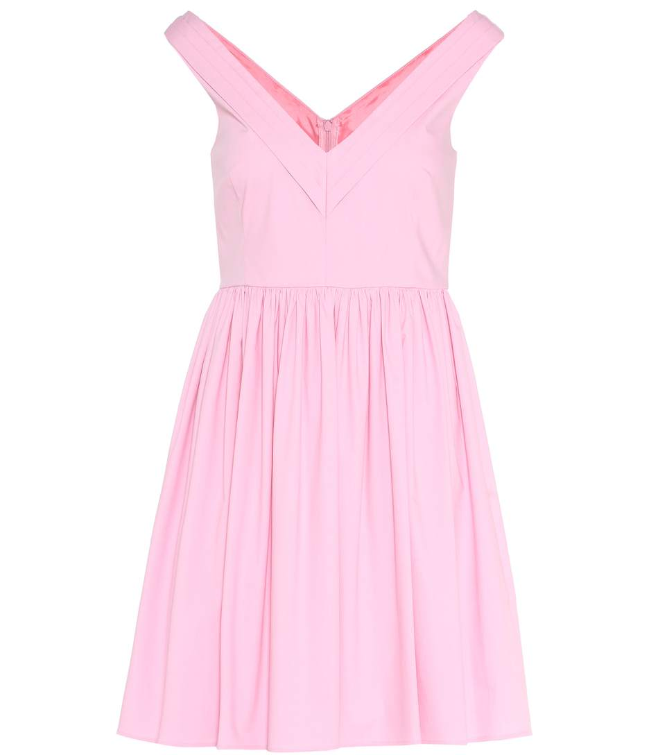 Red Valentino V-Neck Cotton Dress In Pink