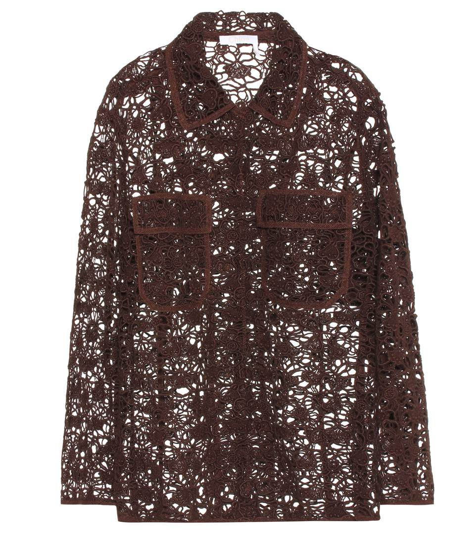 ChloÉ Long Sleeve Floral Lace Jacket In Brown