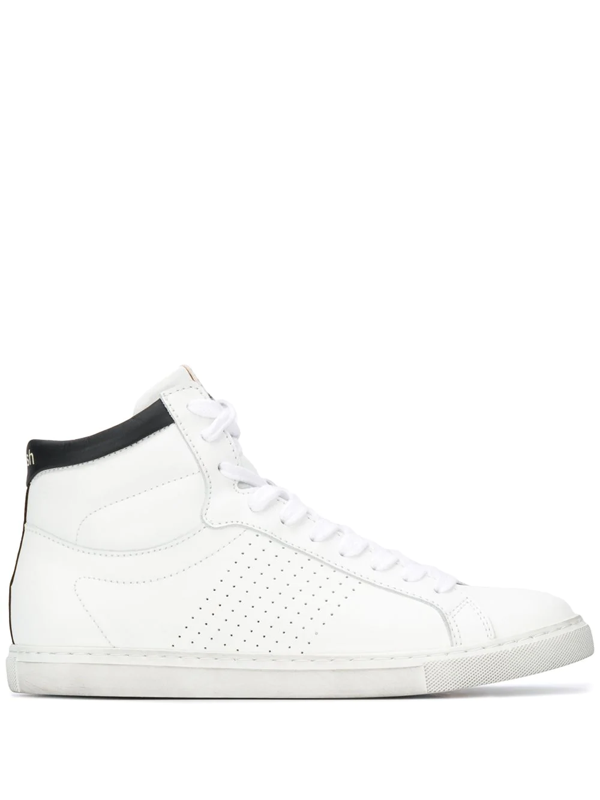 Ba&sh Hcosta Perforated Leather High-top Trainers In White