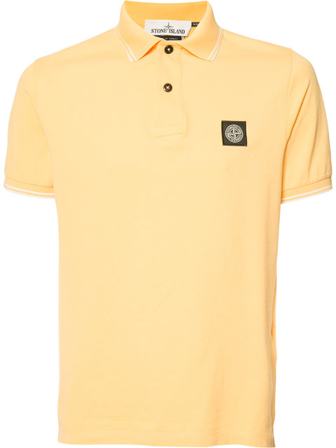 Stone Island Logo Patch Polo Shirt - Yellow & Orange