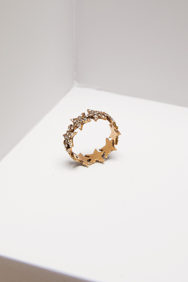 Marc Jacobs Twinkle Star Ring In Crystal/Antique Gold