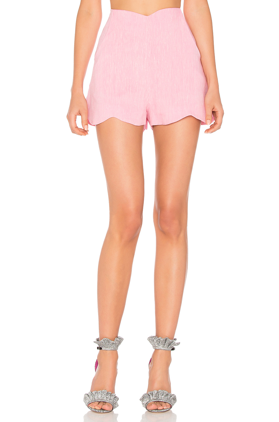 Paper London Woman Fraise Scalloped Linen Shorts Baby Pink