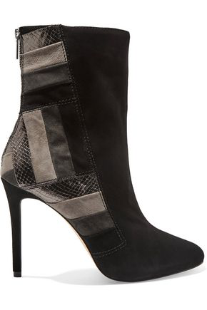 Michael Michael Kors Woman Suede And Textured-Leather Ankle Boots Black