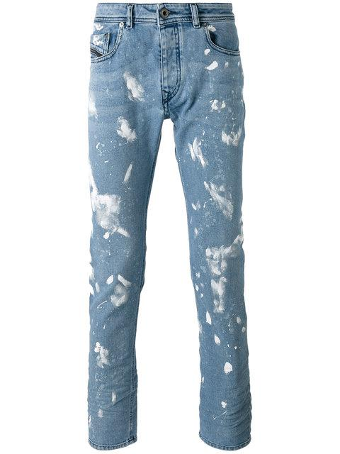 Diesel Paint Effect Jeans In Stone Washed