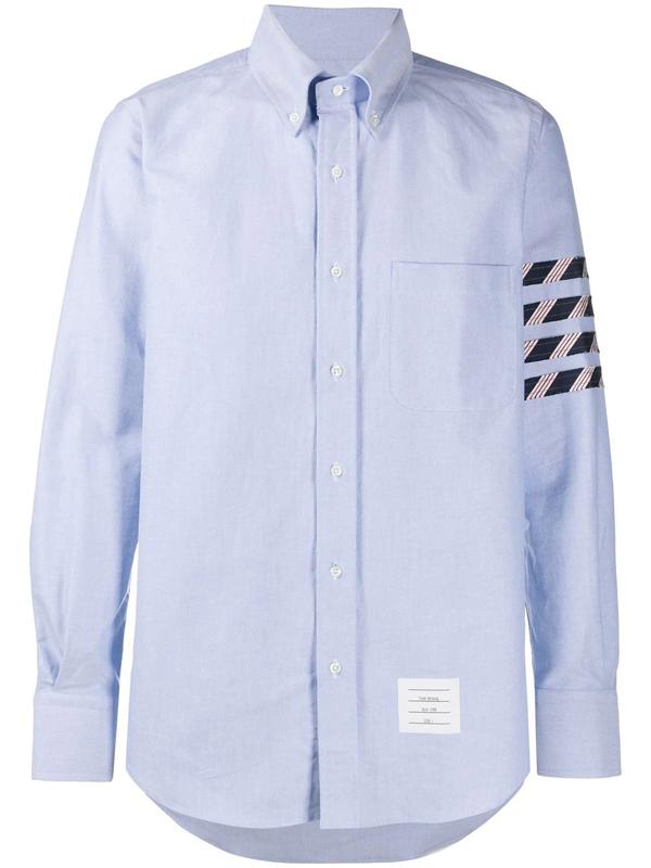 Thom Browne 4-bar Stripe Button-down Oxford Shirt In Blue