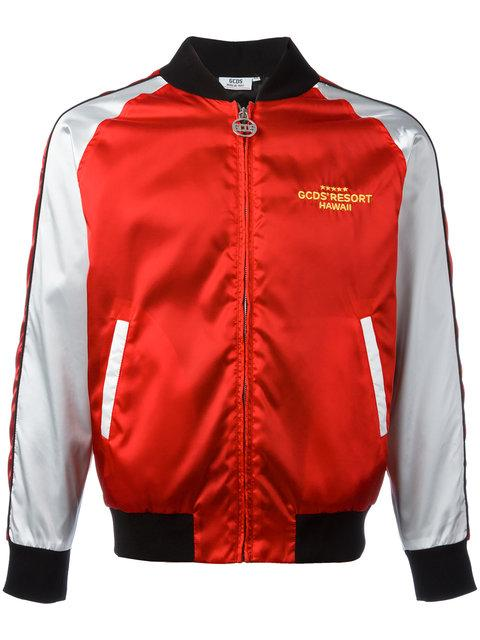 Gcds Embroidered Satin Bomber Jacket In Red