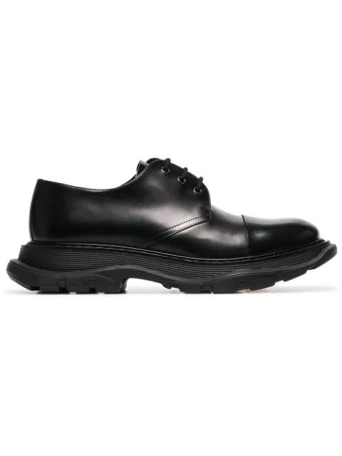 Alexander Mcqueen Cap-toe Smooth And Patent-leather Derby Shoes In Black