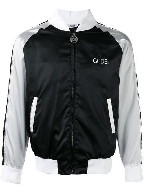 Gcds Stripe Panel Bomber Jacket - Black