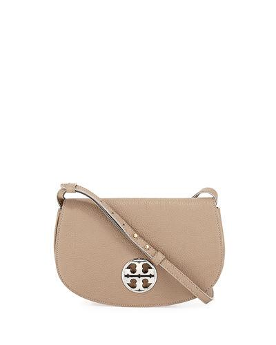 Tory Burch Jamie Leather Clutch Bag In French Gray