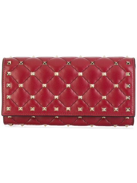 5c258fa904 Valentino Rockstud Spike Leather Continental Wallet - Red In U27 Ruby