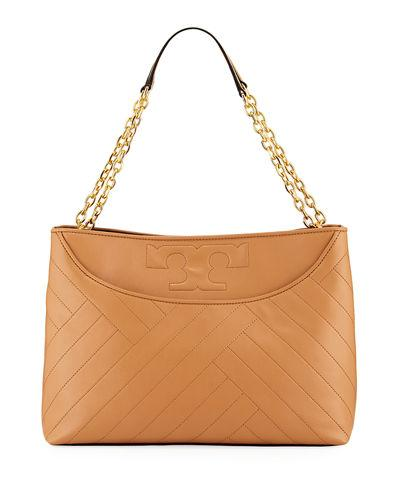 Tory Burch Alexa Quilted Slouchy Leather Tote In Aged Vachetta
