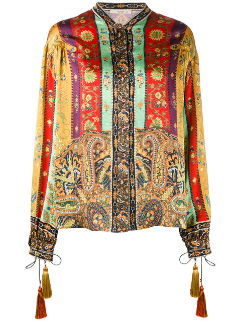 Etro Printed Silk Blouse With Tassels In Multicolor