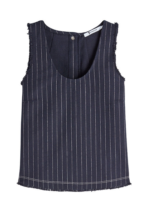 T By Alexander Wang Pinstriped Sleeveless Top In Stripes