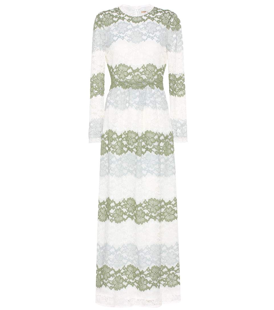 Burberry Hannah Lace Dress In Chalk Greee
