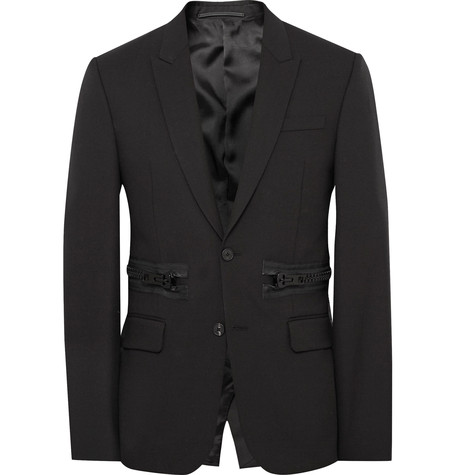 Givenchy Black Slim-Fit Zip-Detailed Wool And Mohair-Blend Blazer