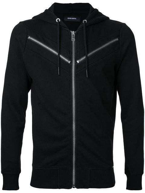 Diesel S-Flyer Zipper-Detail Cotton-Jersey Hoody In Black