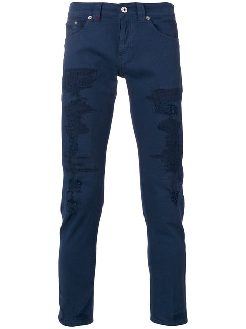 Dondup Distressed Skinny Trousers - Blue