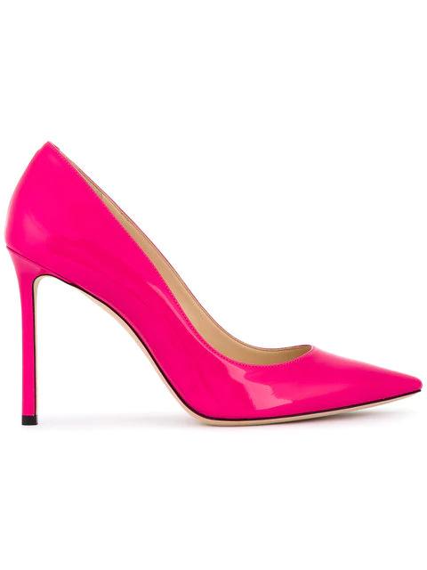 Jimmy Choo Romy 100 Spitze Pumps Aus Neonrosanem Lackleder In Pink