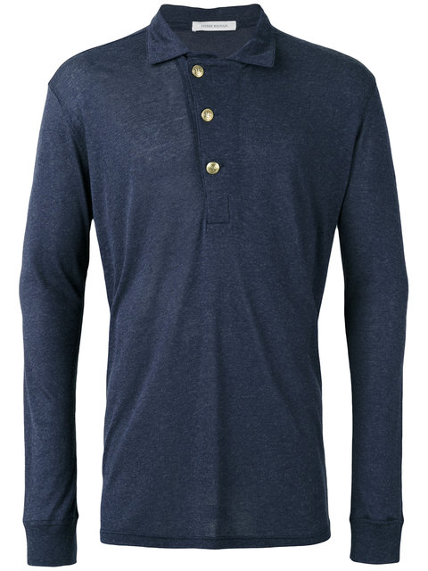 Pierre Balmain Long Sleeve Polo Top In Dark Blue