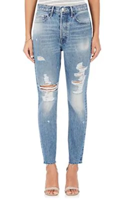 Frame Rigid Re-Release Le Original Skinny Distressed High-Rise Jeans In Mid Denim