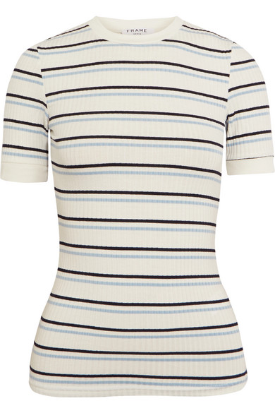 Frame Striped Ribbed Stretch-Jersey T-Shirt In White