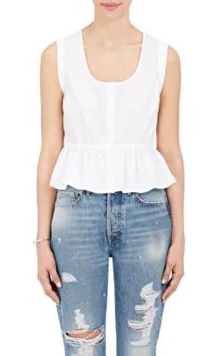Frame Sleeveless Tie-Back Peplum Blouse, White