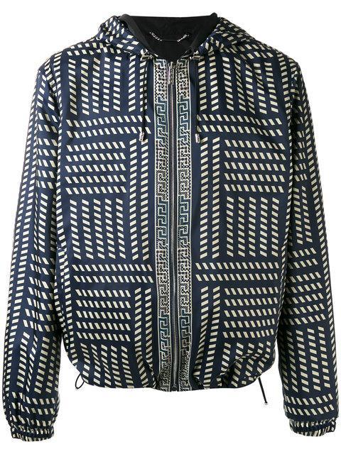 Versace Tribal Print Hooded Jacket - Black