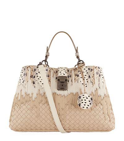 Bottega Veneta Small Milano Intrecciato Bag In Neutral