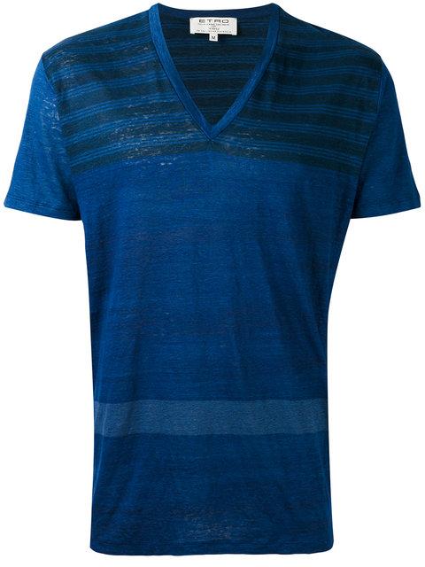 Etro Stripe V-Neck T-Shirt