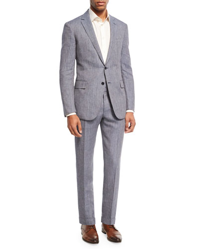 Ralph Lauren Linen-Wool Two-Piece Suit, Blue/White