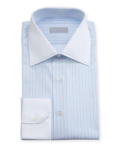 Stefano Ricci Striped Contrast-Collar Dress Shirt, Light Blue