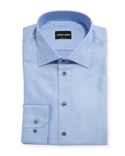 Giorgio Armani Textured Solid Dress Shirt, Blue