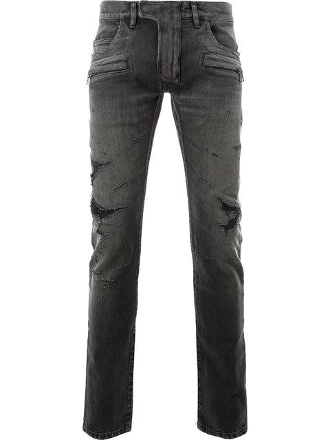 Balmain Distressed Skinny Jeans In Black