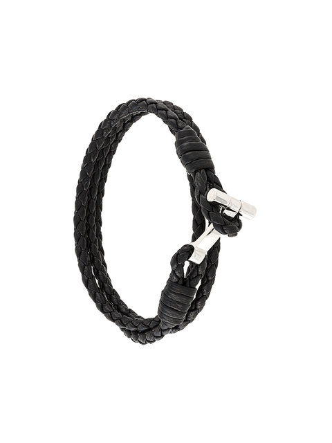 Tom Ford Woven Leather And Palladium-Plated Wrap Bracelet In Black