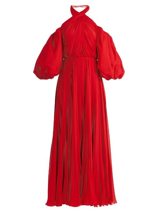 Giambattista Valli Cold-Shoulder Pleated Silk-Chiffon Halterneck Gown In Red