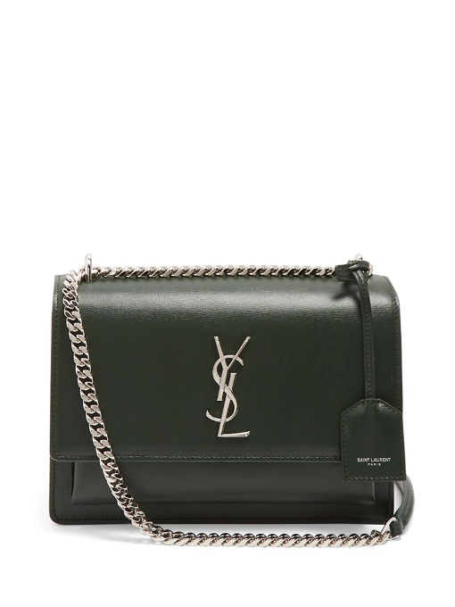 Saint Laurent Sunset Medium Leather Cross-Body Bag In Black