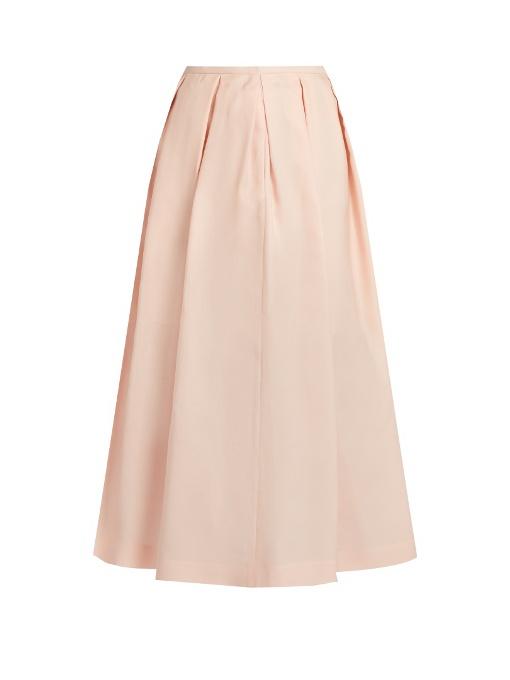 Rochas Pleated Crepe-Gazar Midi Skirt In Peach-Pink