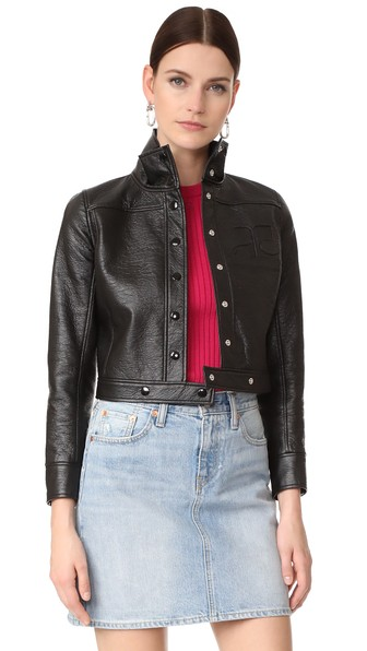 CourrÈGes Cropped Jacket In Black