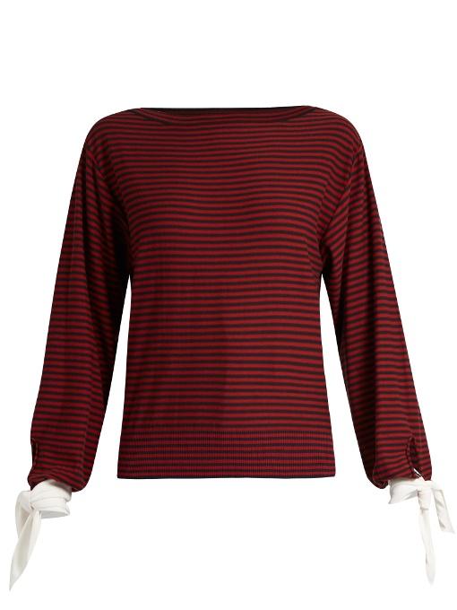 ChloÉ Tie-Cuff Striped Cotton Top In Red Stripe