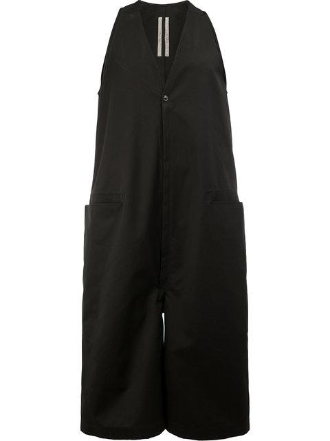Rick Owens Cropped Sleeveless Jumpsuit In Black